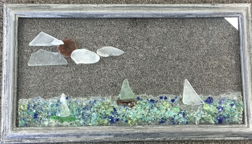Sea Glass sailboats with Sun and Clouds